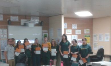The girls that attended the programme after receiving their certificates